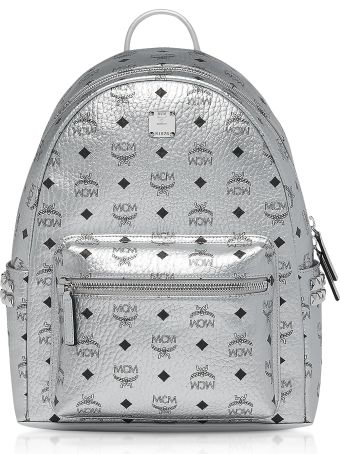 MCM Berlin Silver Side Studs Visetos Stark Backpack 37