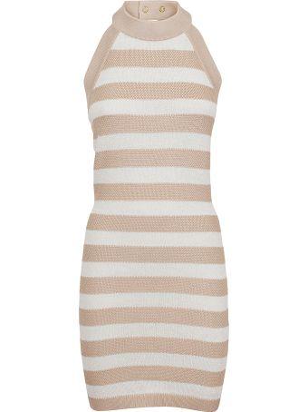Balmain Short Sleeveless Braided Stripe Dress