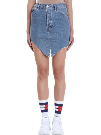 VETEMENTS Blue Denim Pencil Skirt