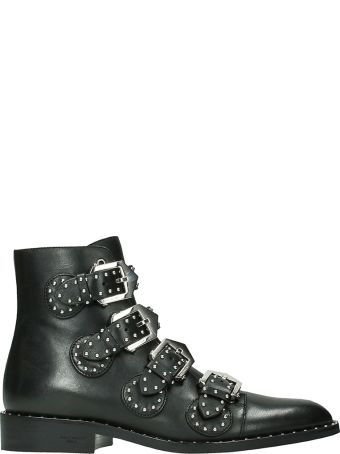 Givenchy Elegant Flat Black Leather Ankle Boots