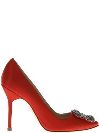 Manolo Blahnik Lanza Red Satin Pumps