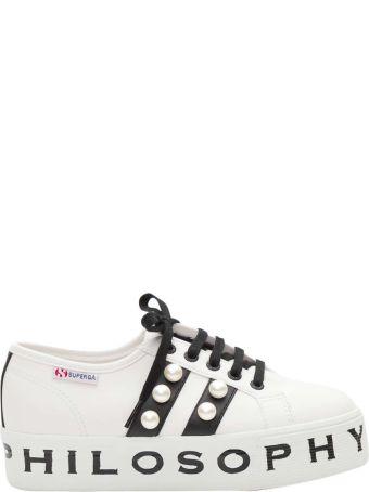 Philosophy di Lorenzo Serafini Pearl-embellished Superga Sneakers