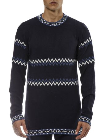 Diesel Black Gold Navy Wool Pullover With Ethnic Pattern