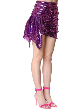 For Love & Lemons Skirt Coated With Paillettes Color Purple