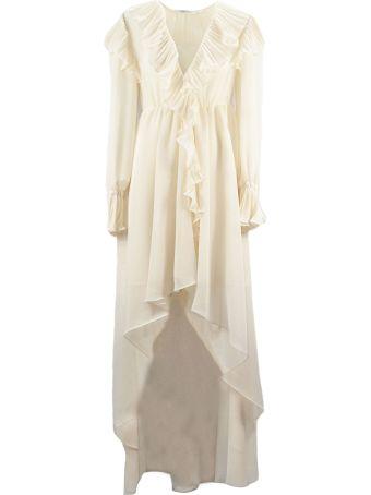 Philosophy di Lorenzo Serafini Long Dress In Saffron-ivory Double Crepe