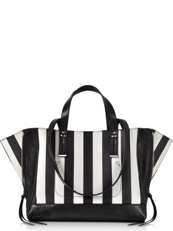 Jerome Dreyfuss Georges M Black And White Stripes Leather Tote Bag