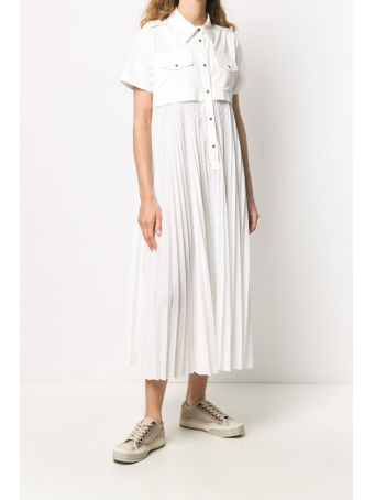Mr & Mrs Italy Off-white Midi Dress With Pleated Skirt