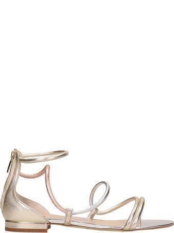 The Seller Platinum Leather Flat Sandals