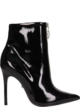 Schutz Black Patent Leather Ankle Boots