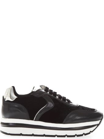 Voile Blanche May High Black Leather Sneakers