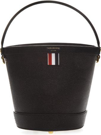 Thom Browne Black Leather Bucket Bag