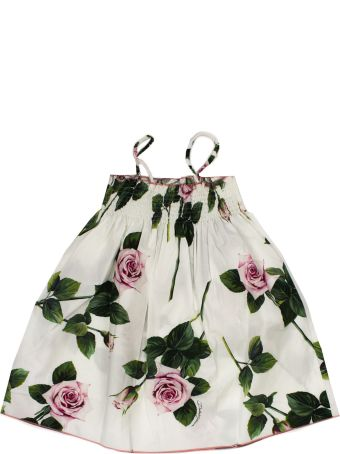 Dolce & Gabbana Poplin Sundress With Tropical Rose Print
