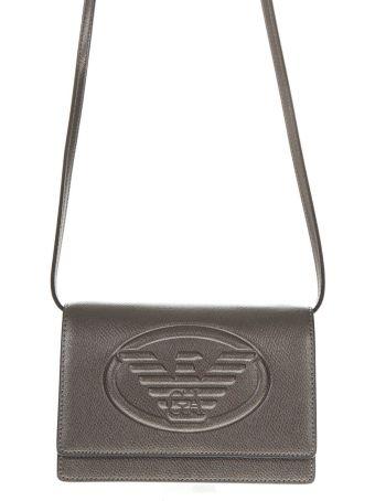 Emporio Armani Silver Faux Leather Shoulder Bag
