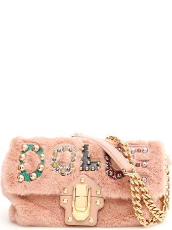 Dolce   Gabbana Faux Fur Lucia Bag With Patch ba4b343ac5db1