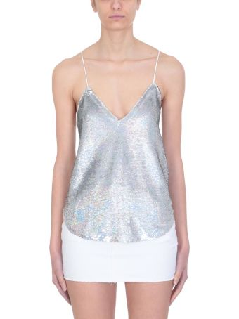 IRO Ernet Silver Sequined Crepe Top
