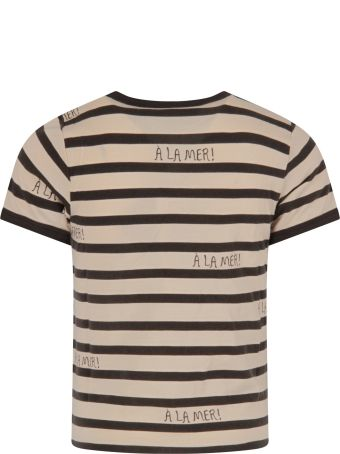 Mini Rodini Ivory And Grey T-shirt For Boy With Grey Writing