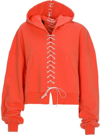 Ben Taverniti Unravel Project Unravel Lace Up Hoodie Faded Orange