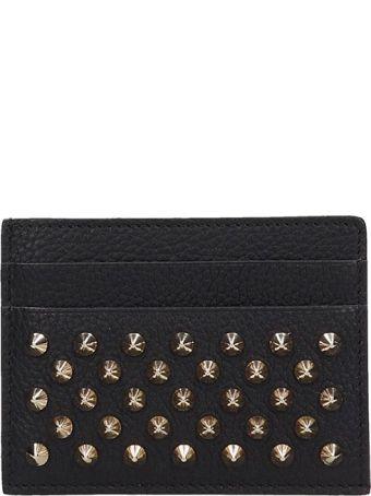 Christian Louboutin Black Leather Kios Nv Card Holder