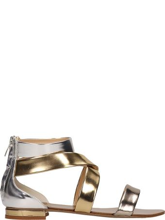 The Seller Gold Laminated Leather Flats Sandals