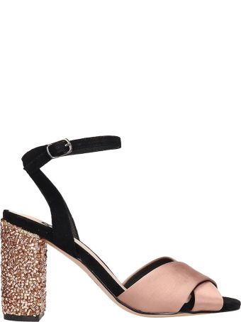 Bibi Lou Champagne Black Satin Sandals