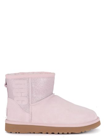UGG Classic Mini Logo Sparkle Pink Suede And Glitter Ankle Boots