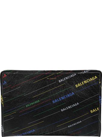 Balenciaga Bazar Printed Logo Pattern Clutch