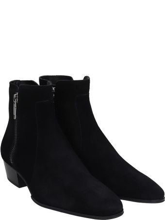 Balmain Anthos Ankle Boots In Black Suede