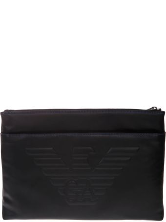 Emporio Armani Document Holder In Black Leather With Logo