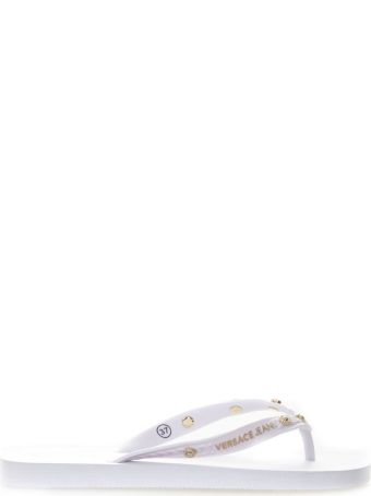 Versace White Rubber Flip Flop Sandals With Gold Studs