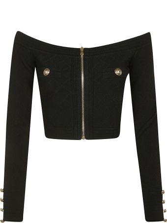 Balmain Zip Embellished Cropped Cardigan