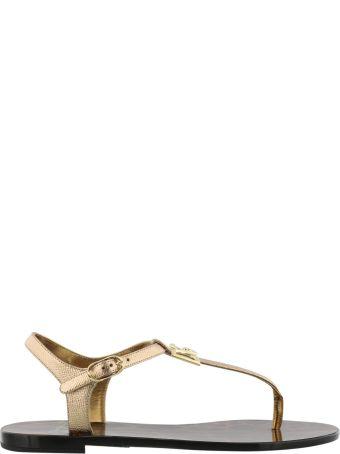 Dolce & Gabbana Logo Paint Leather Thong Sandal