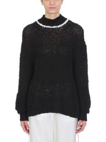Jil Sander Contrast Trim Open Knit Cotton-blend Jumper