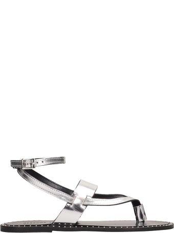 Rebecca Minkoff Silver Leather Alma Sandals