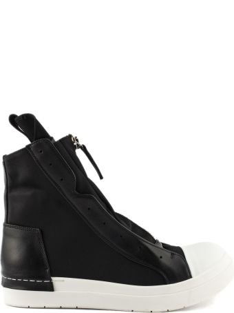 Cinzia Araia High-top Sneaker In Black Leather And Fabric