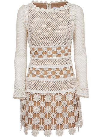 self-portrait Perforated Floral Dress