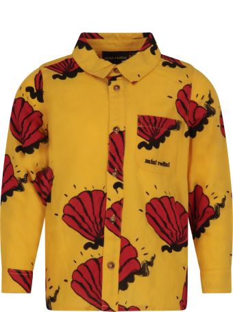 Mini Rodini Yellow Shirt For Boy With Red Shells