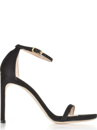 Stuart Weitzman Nudistsong Black Suede High Heel Sandals