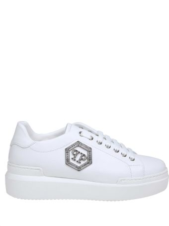 Philipp Plein Sneakers Lo- Top Crystal In White Leather