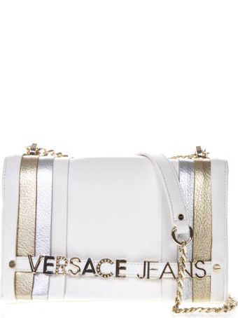 Versace White Faux Leather Shoulder Bag With Logo