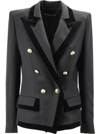 Alexandre Vauthier Black Wool Double-breasted Blazer.