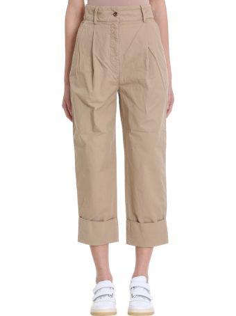 Acne Studios Phaedra Beige Cotton And Linen Trousers