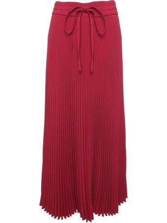 RED Valentino Pleated Jersey Midi Skirt