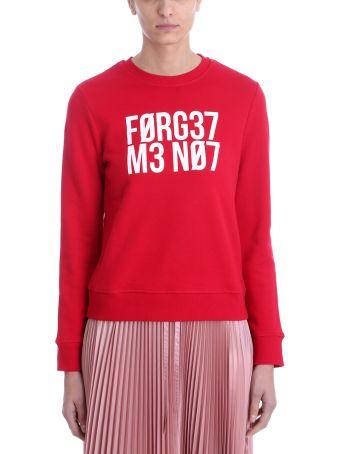 RED Valentino Slogan Print Red Cotton Sweatshirt