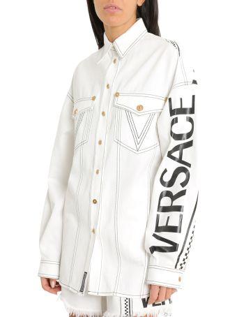 Versace 90s Vintage Logo Denim Shirt