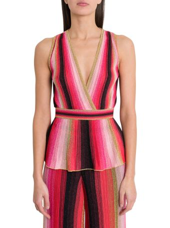 M Missoni Sleeveless Top With Stretch Waist And Basque Style