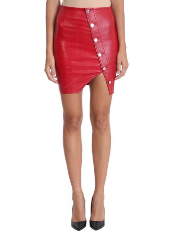 RTA Red Lamb Leather Skirt