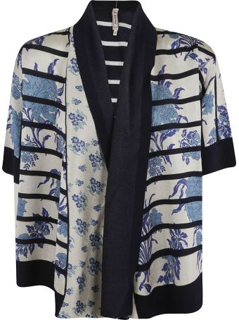 Antonio Marras Flower Print Stripe Cardigan