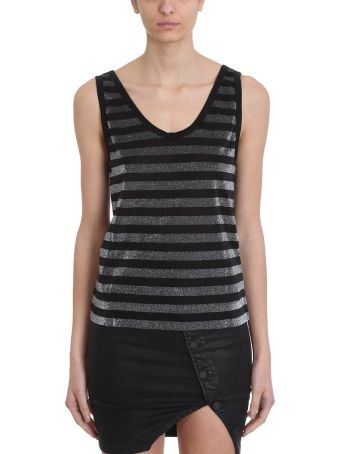 RTA Silver Black Lurex Tank Top