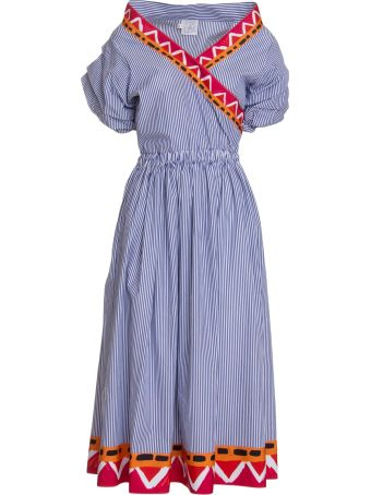 Stella Jean Cotton Midi Dress In Blue