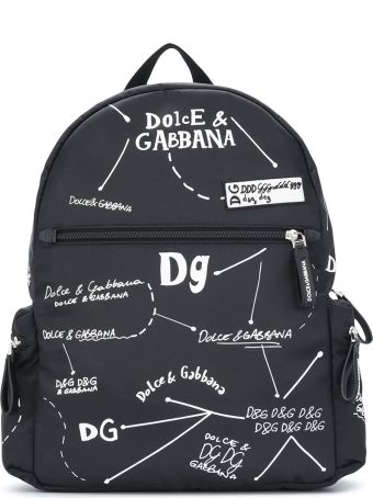 Dolce & Gabbana Black Backpack With White Print Dolce&gabbana Kids